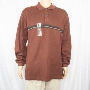 New IZOD 100% Cotton Long Sleeve Brown Polo